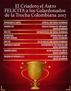 El criadero el astro felicita a los ganadores de trocha colombiana 2017